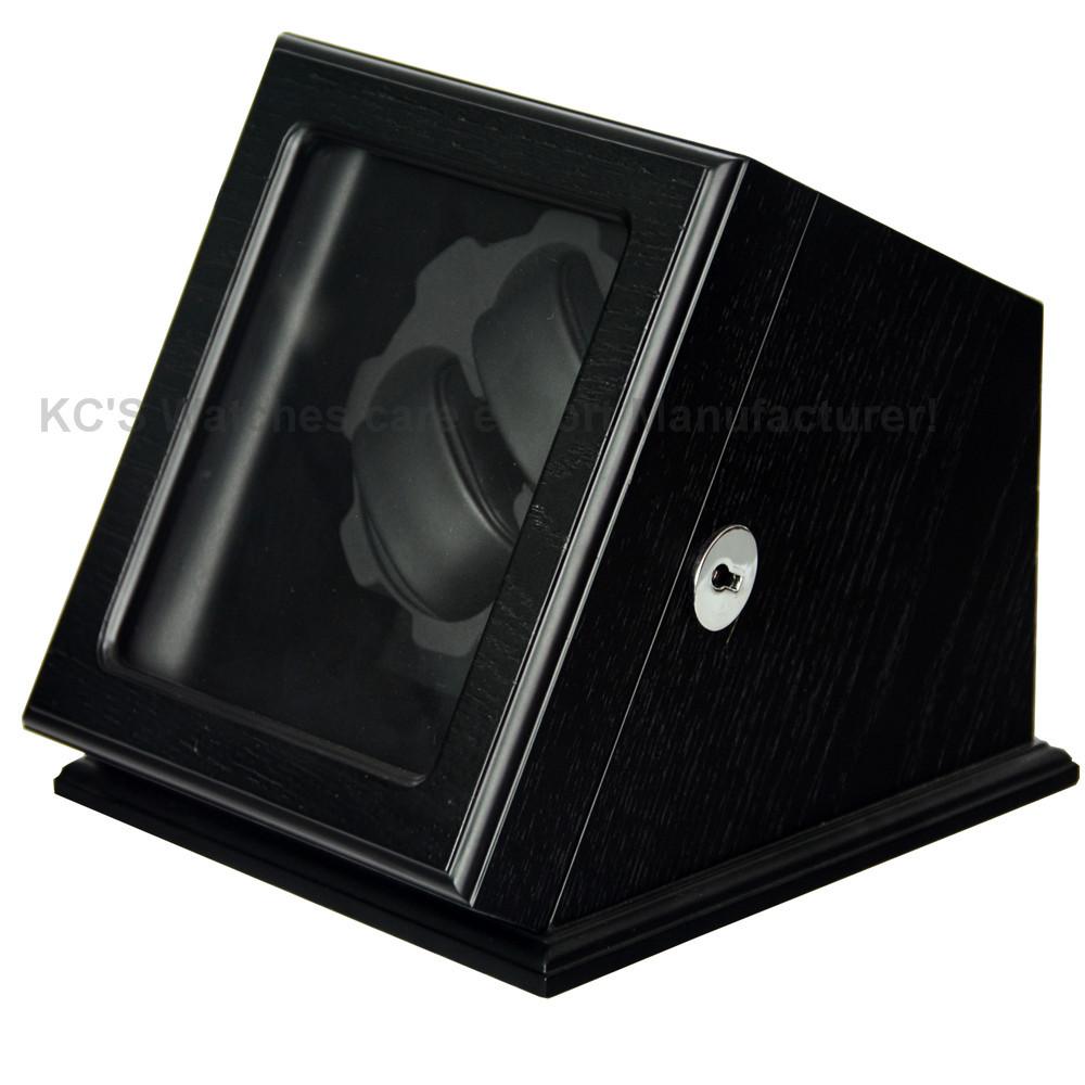 Высокое качество коробке 2 часы деревянные автоматические часы намотки для RLX с замком Burlwood зерна черный дисплей чехол коробка GC03-S60BSB