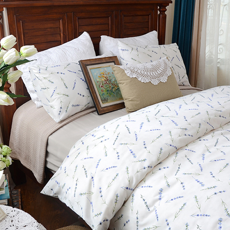 Clearance sale luxury lavender floral egyptian cotton for Luxury cotton comforter sets