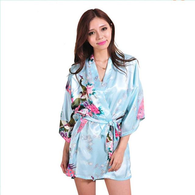 Небо Синий2015 мода женщин v-образным вырезом шелковый атлас пижама широкий сексуальность ...