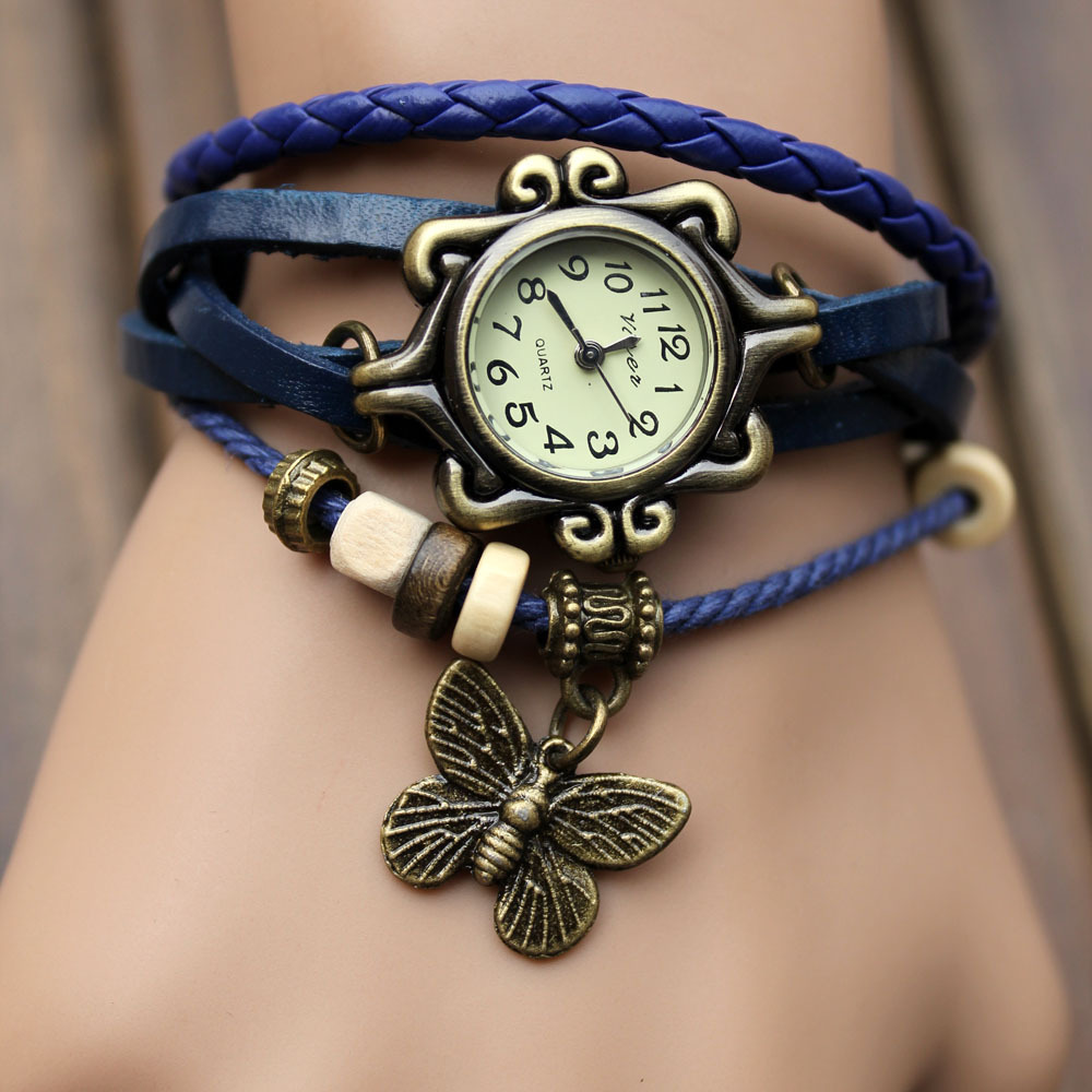 Fashion casual high quality Cow Leather Strap vintage women s knitted leather butterfly rhinestone Dress Watches