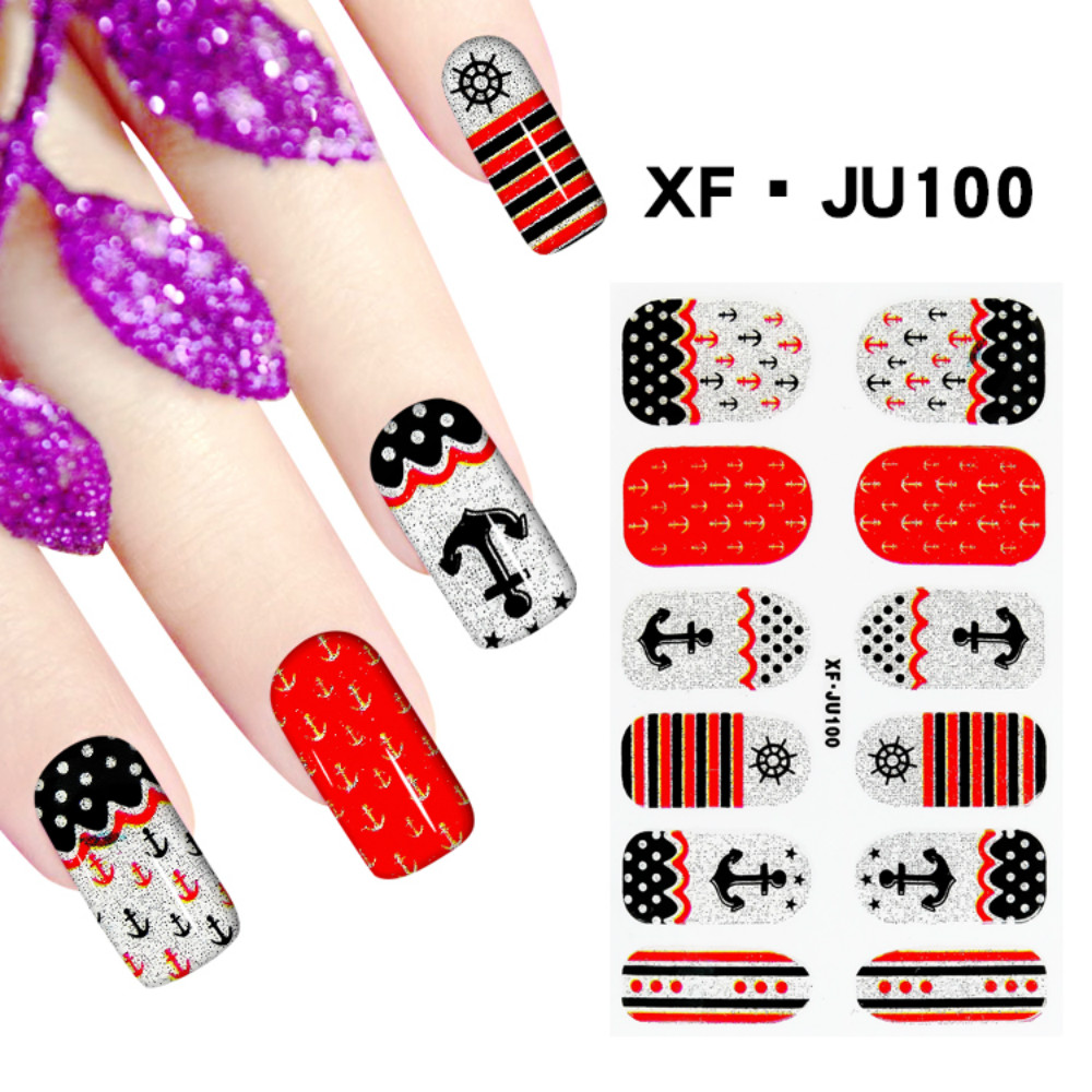 JU100 Free Shipping 3D Full Nail Strips Beautiful Nail Art Stickers With One Nail File Ju100 Buy One Get Two Total 3 Pack(China (Mainland))