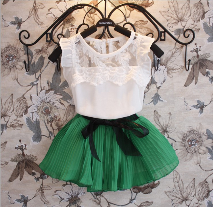 2015 New Girls Clothing Sets Dress + Short T shirt 2 Pcs Set Summer Kids Clothes Fashion Girls Clothes Knitted Children Clothing(China (Mainland))