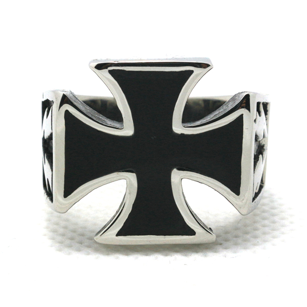 Mens Boy 316L Stainless Steel Cool Polishing Cool Cross Flash Silver Newest Ring(China (Mainland))