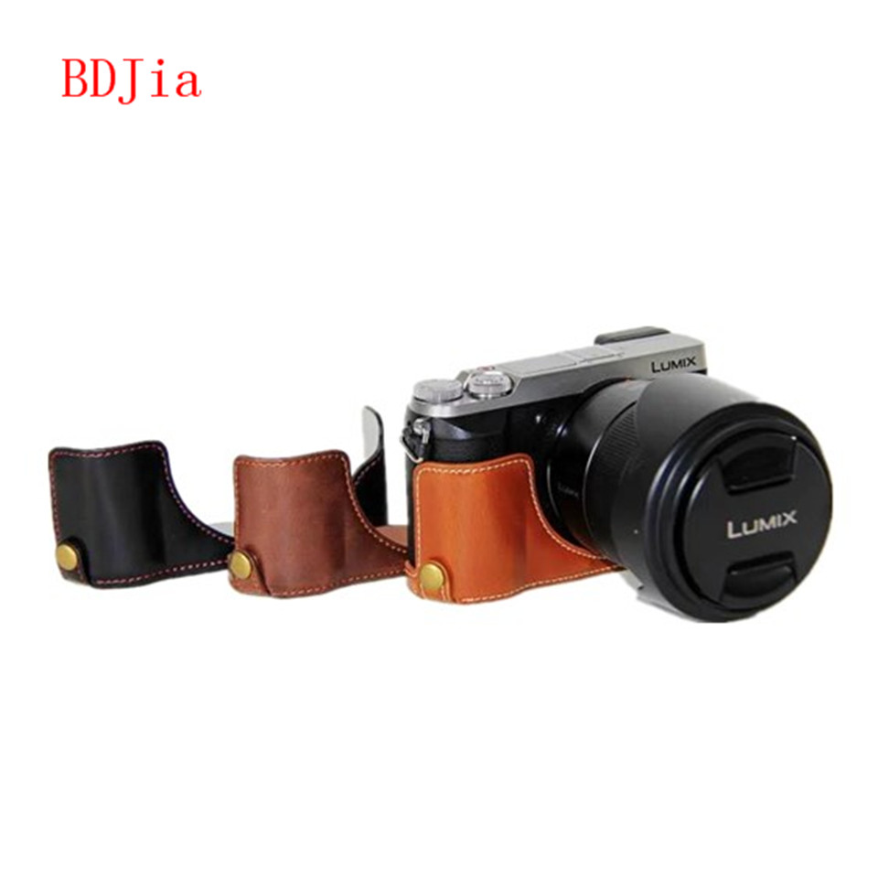 NEW ! Fashional Camera Bag Case For Panasonic GX85 PU Leather Half Body Set Cover With Battery Opening, Free Shipping(China (Mainland))