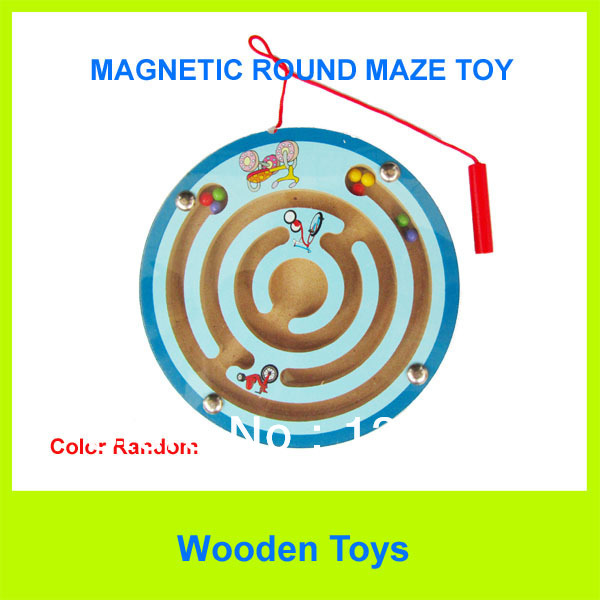 Free Shipping Cute Wooden Magnetic Pen Maze/Wooden Cartoon Animal Maze/Educational toys(China (Mainland))