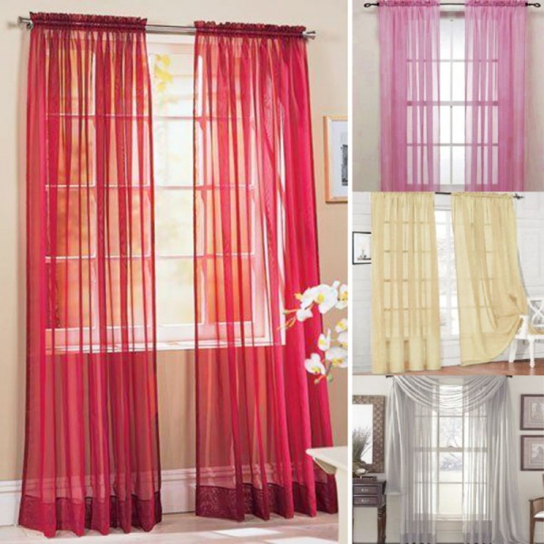 Door Window Curtains Drape Panel or Scarf Assorted Scarf Sheer Voile cortinas Multi-Styles(China (Mainland))