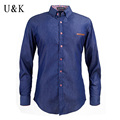 UNIVOS KUNI Brand Clothing 2016 Men s Jeans Shirt Long Sleeve Mens Dress Shirts Turn down
