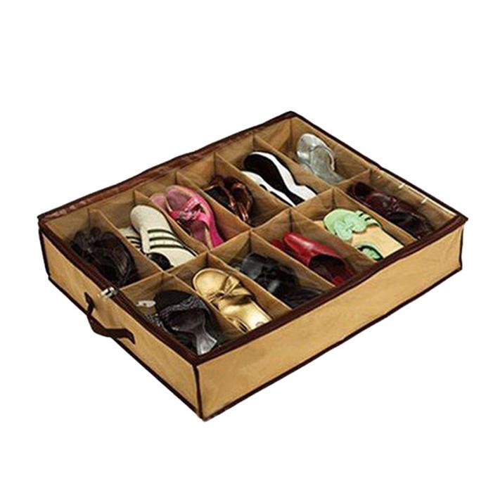 Stylish 72*61*15cm Multifunction 12 grid Folding Transparent Admission Shoe Bag Folding Storage Organizer Finishing Box(China (Mainland))