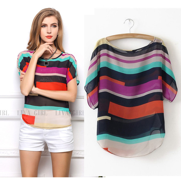 Plus Size 2015 Summer New Brand Batwing Sleeve Chiffon Contrast Color Fashion t shirt Women Transparent Sexy Loose Women's Tops(China (Mainland))