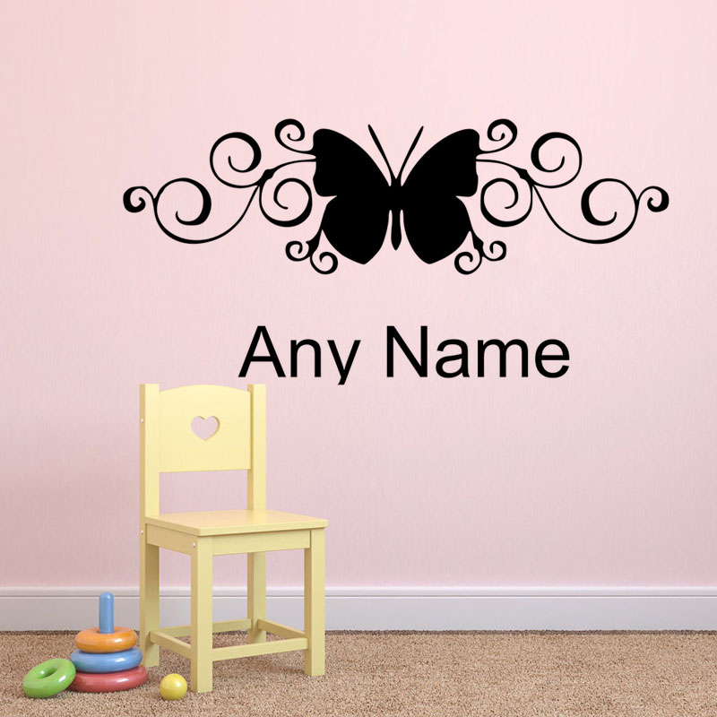 Unique Design Butterfly Styling Decal Any Name Vinyl Wall Sticker Adhesive Removable Home Decor Accessories For Living Room(China (Mainland))