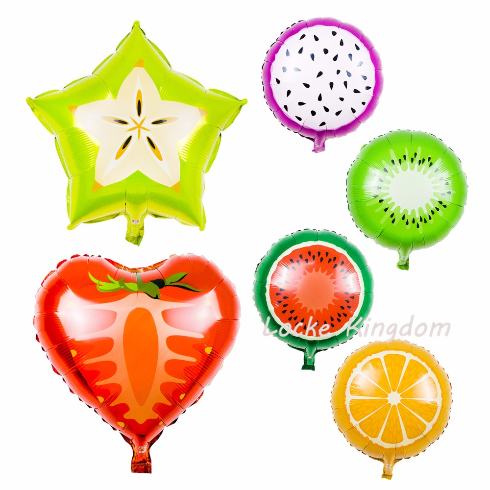 Lucky 50pcs/lot Fruit Balloon Pitaya/Orange/Kiwi/Watermelon Foil Helium Balloons For Birthday Party Wedding Decoration Globos(China (Mainland))