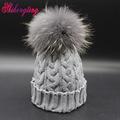Pearl Beanies Hats 2016 Head Cap Raccoon Fur Ball Knitted Women's Hats From The Rabbit Thicken  Manual Winter Headdress ZZM011