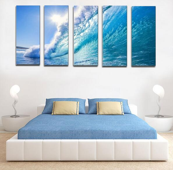 5 Panel Sea Wave Oil Painting For Living Room Decor Wall