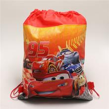 10pcs cartoon car toy non-woven fabric drawstring backpacks birthday return gifts child boys school backpack bag mochila(China (Mainland))