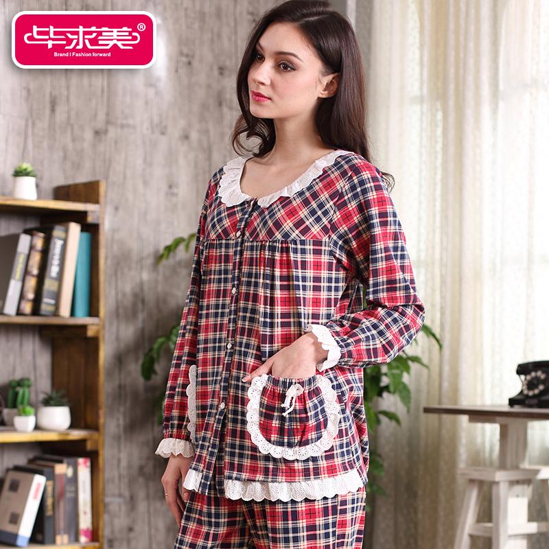 New 2016 Women Pajama Set 100% Knitted Cotton Lace Full Sleeve Pyjamas Sleepwear Casual Plaid Round Neck Sleep Lounge Hot Sale(China (Mainland))