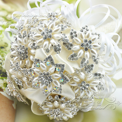 Bridal Bouquet Out Of Ribbons : Free shipping wedding accessories hand brooch pearl luxury