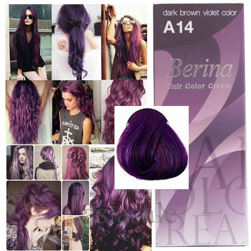 BERINA 14 Violet Purple Plum COLOR HAIR Permanent Super Hair Dye Anime Harajuku Free Shipping