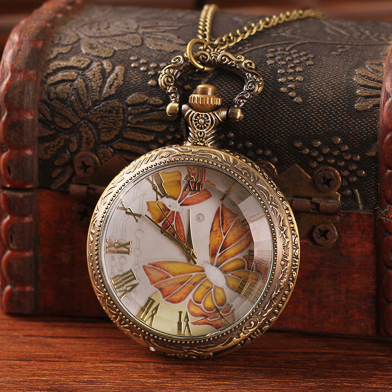 European And American Retro Wind Hot Selling New Large Butterfly Figure Watch   Quartz-watch Montre Gousset Pocket Watches<br><br>Aliexpress