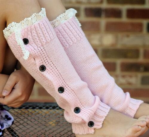 Knit Little Girls leg warmers Crochet Lace Trim and Buttons children kids leg warmers Boot Socks 1 pair JT012(China (Mainland))