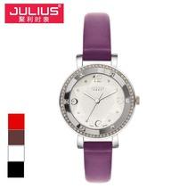Señora de cuarzo reloj de pulsera de horas mejor vestido moda venda de la pulsera cristalina de cuero elegante de san valentín regalo de la muchacha Julius JA-827