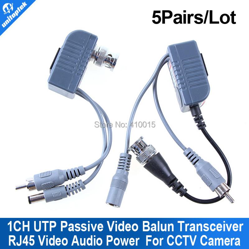 CCTV Active utp video audio power Balun transceiver twisted pair 5pairs(China (Mainland))