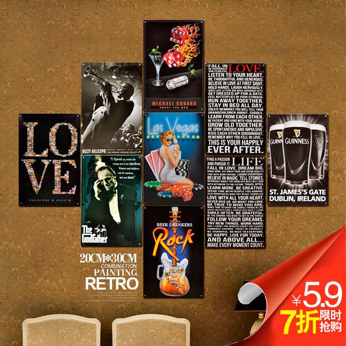 Decorative Cover For Breaker Panel: Vintage Metal Signs Painted Matte Wall Bars Cafes
