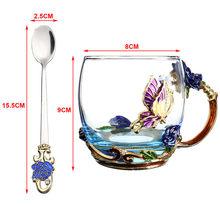 Красота и Новинка эмалированная кофейная чашка кружка цветочный чай стеклянные чашки для горячих и холодных напитков чайная чашка ложка На...(China)