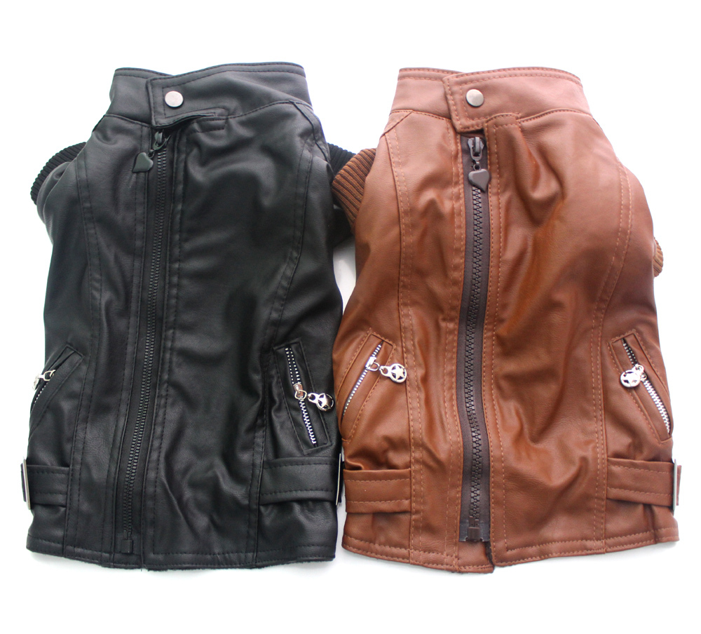 Dog Pet Leather coat Jacket Zipper&Pockets clothes Apperal 5 sizes(China (Mainland))