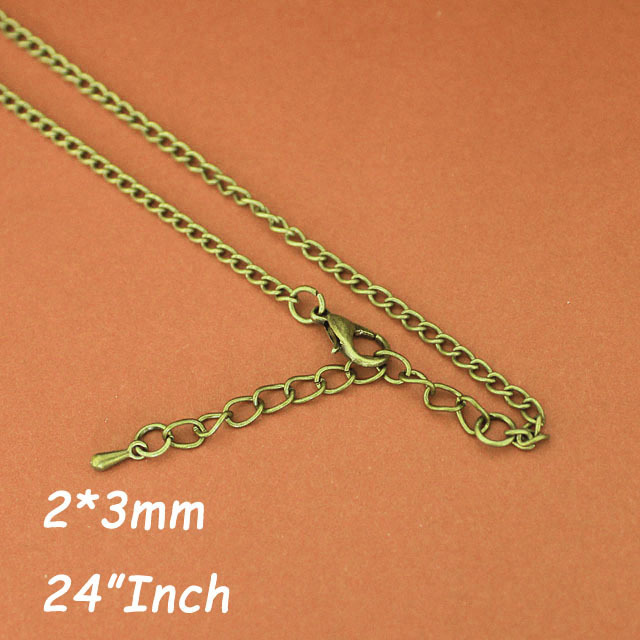 2mm 24 Curb Chains Necklace With Lobster Clasps 5cm Extender Chains&amp;Tear Drops  Antique Bronze Plated  for Pendants Jewelry diy<br><br>Aliexpress