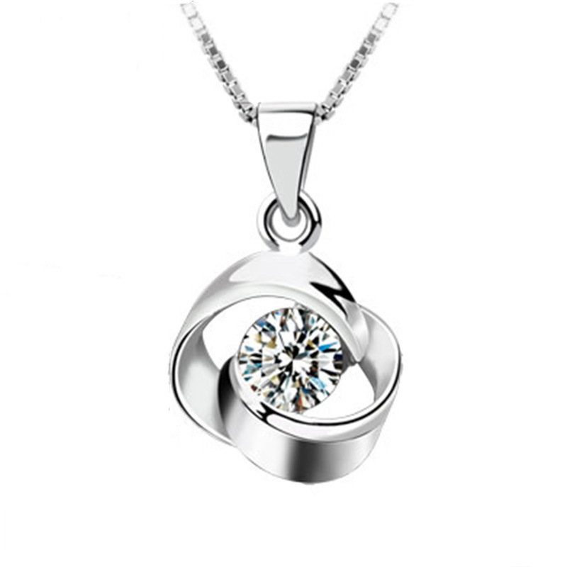 Trendy Silver Plated Box Link Chain Love Necklace Women Double Round Inlaid CZ Diamond Necklaces Pendants Female 2016 Jewelry(China (Mainland))