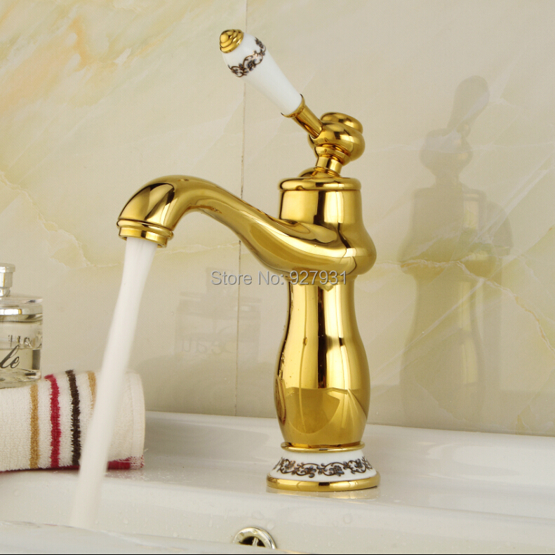Фотография Polished Golden Deck Mounted Basin Sink Mixer Faucet Single Handle Hot and Cold Water