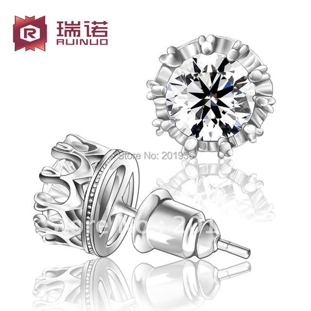 Free shipping,Fancy single 925 pure silver earring,cubic zircon,crown stud earring,women/men,boy/girl accessorie Lovers' gift