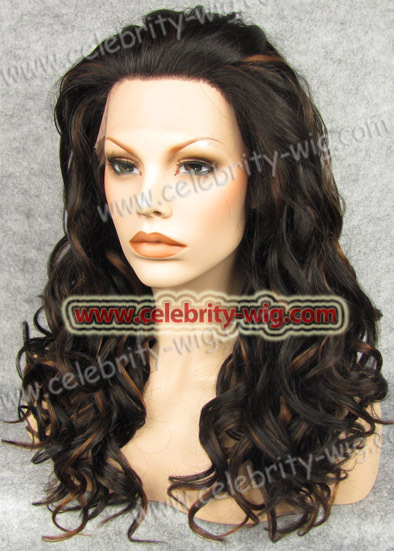 New arrival and best sale long style black and brown highlight synthetic lace fornt curly wig for black man<br><br>Aliexpress