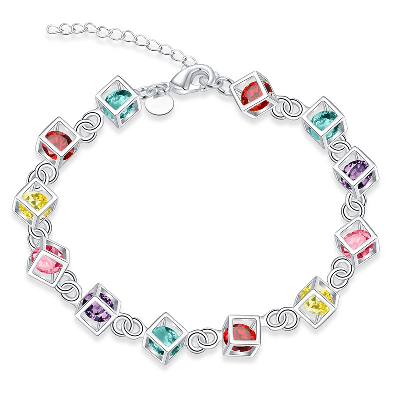 Fashion Bracelets Amp Bangles Femme Jewelry Lovely Silver Plated Multi-color Cube Bracelets Women Romantic Colored Stone BK0688(China (Mainland))