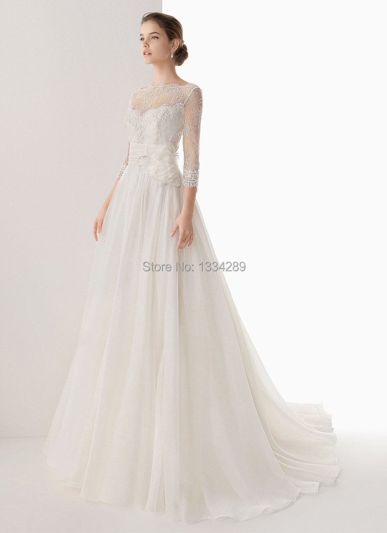 Db 300 simple lace half sleeve wedding dress new chiffon for Wedding dresses less than 300