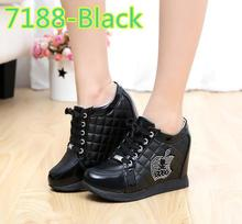 Black White Free Shipping Hidden Wedge Heels Fashion Women's Elevator Shoes Casual Shoes For Women wedge heel Rhinestone 2015(China (Mainland))