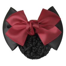 Buy 1 PC Sweet Girl Satin Bow Barrette Lady Hair Clip Cover Bowknot Bun Snood Women Hair Accessories QLM for $1.06 in AliExpress store