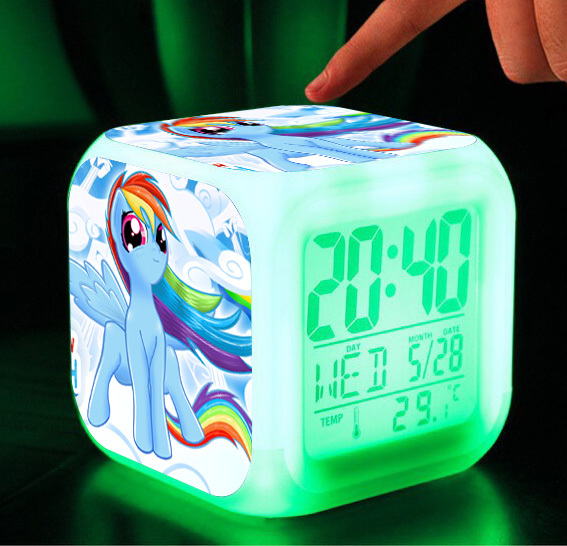 Princess toys & hobbies Little Horse Alarm Clock Digital action toy figures Thermometer Night Colorful Glowing toys(China (Mainland))