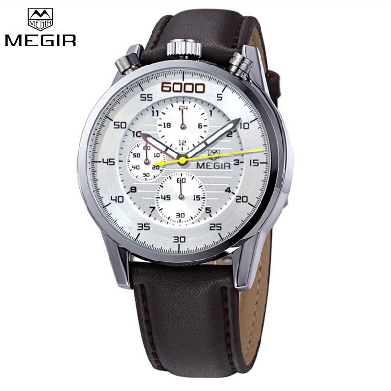 MEGIR Многофункциональные Часы Известный Бренд Роскошных Мужчин Полный Стали Часы Хронограф 24 Часы Военные Часы Relogio Masculino