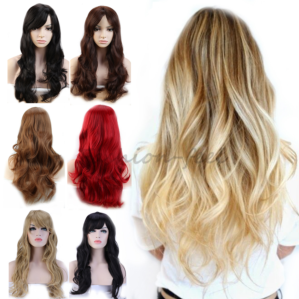 """19"""" Long Curly Wavy Synthetic Full Head Wigs Dark Brown Auburn Women's Costume Cosplay Daily Fancy Dress 100% Natural Hair Wig(China (Mainland))"""
