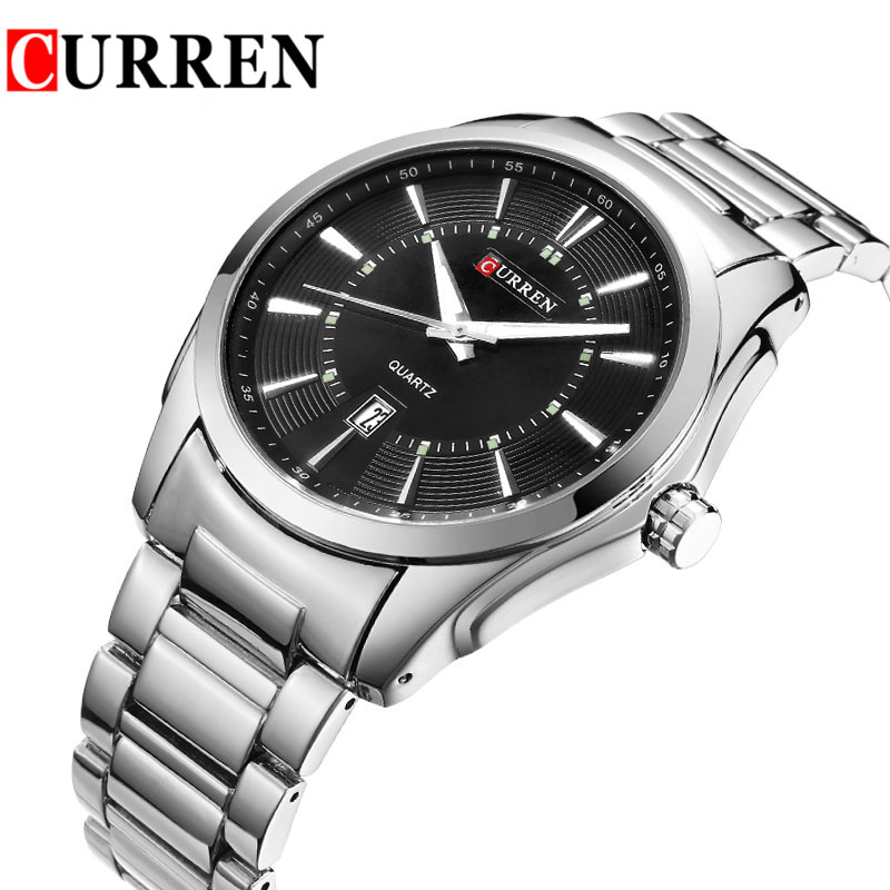 Newest Mens Business Quartz Watches Top Brand Luxury Man Wristwatches Full Steel Clendar Men Watch Silver Strap Male Clocks 8172(China (Mainland))