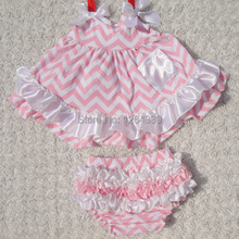 Fashion kids swing set chevron infant baby girls swing top set with bloomer set baby cotton outfits KP-SW024