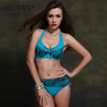 SunVP Plus Size Bikini Underwire Padded Swimsuit Women Push Up Bikini Set Large Size Swimwear Female