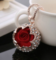 new arrival 18k gold plated crystal women long necklace sweater chain necklace rose pendant accessories colares