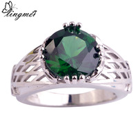 lingmei Wholesale Fashion Popular Jewelry Round Emerald Quartz 925 Silver Ring Size 6 7 8 9 10 11 12 Women Gift Free Shipping