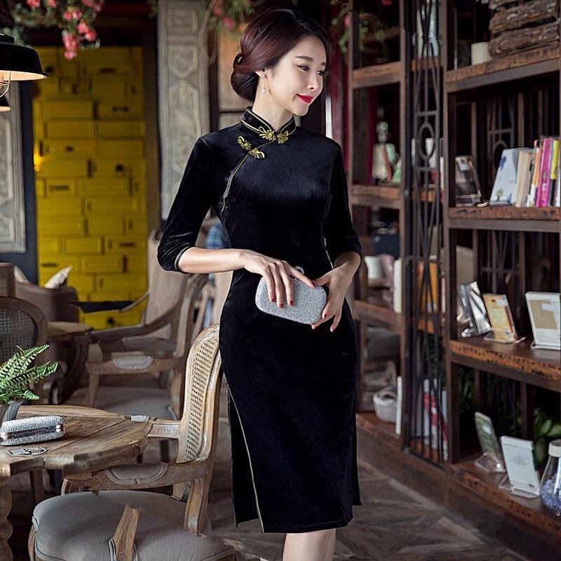 ใหม่QipaoสตรีCheongsamแฟชั่นสไตล์จีนมินิชุดที่สง่างามบางสั้นพิมพ์ขนาดSml XL XXL XXXL F090607 ถูก