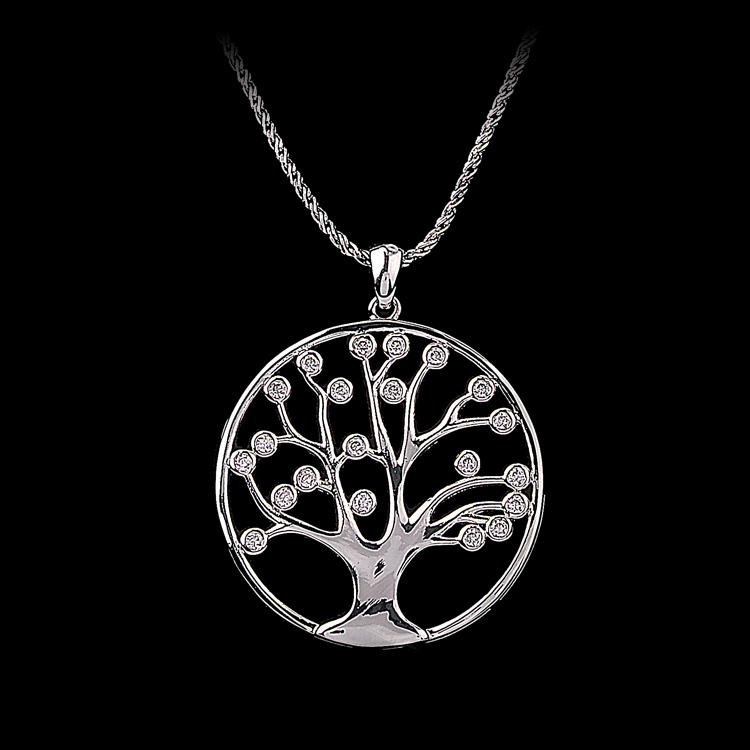 Unique design 18k white gold plated zircon stone the tree of life pendant necklace unisex jewelry<br><br>Aliexpress