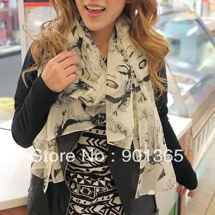 Free shipping Bright color Beauty Marilyn Monroe Chiffon scarf