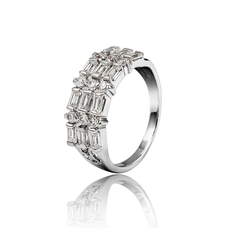 Cute Wedding Band Anillos Mujer 3 Rows AAA Zircon Silver Man Ring Silver Plated Jewellry Wedding Favors And Gifts Wholesale(China (Mainland))