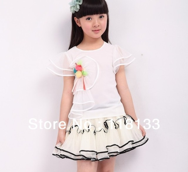 Hotselling! girl's Floral Cotton super beautiful lovely princess Lotus leaf put gauze skirts